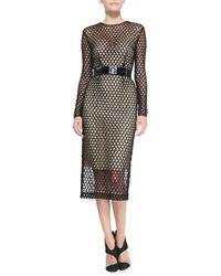 Monique Lhuillier Long Sleeve Lace Cutout Cocktail Dress