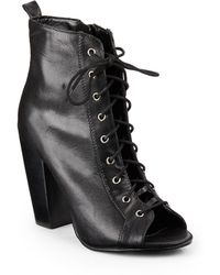 Kelsi Dagger Brooklyn - Laceup Opentoe Leather Ankle Boots - Lyst