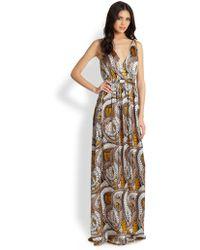 Issa Printed Silk Satin Gown - Lyst