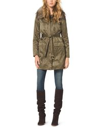 Michael Kors Fur-Trimmed Parka Coat - Lyst