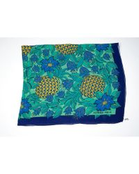Hermes Pre-owned Blue Flower Scarf - Lyst