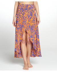 Vix Blue and Orange Antigua June Long Silk Coverup Skirt - Lyst
