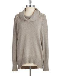 DKNY Studded Yoke Cowlneck Sweater - Lyst