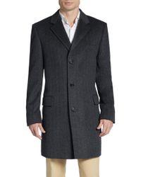 Saks Fifth Avenue Black Label Regular-fit Herringbone Cashmere Coat - Lyst