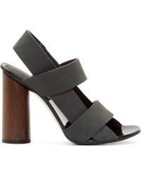 Proenza Schouler Grey Suede Slingback Sandals - Lyst