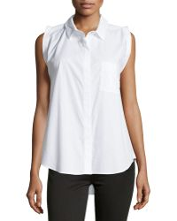 F.t.b By Fade To Blue - Sleeveless Button-front Poplin Blouse - Lyst