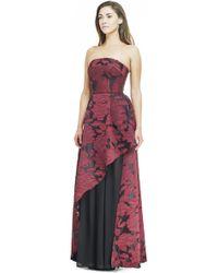 ABS By Allen Schwartz | red Romantic Floral Strapeless Gown | Lyst