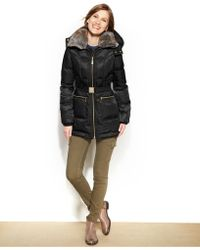 Vince Camuto Faux-fur-trim Belted Down Puffer Coat - Lyst