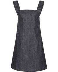 Victoria Beckham Navy Denim Pinafore Dress - Lyst