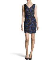Halston Heritage Sleeveless Print Ruched Crepe Dress blue - Lyst