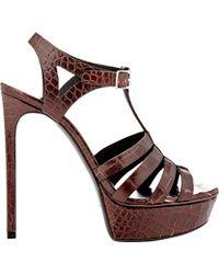 Saint Laurent - Bianca T-strap Platform Sandals - Lyst