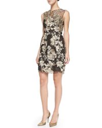 Notte By Marchesa Floral-embroidered Overlay Cocktail Dress - Lyst