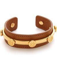 Tory Burch - Leather Logo Cuff Bracelet - Lyst