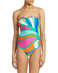 Trina Turk One-Piece Tropicalia Bandeau Swimsuit - Lyst