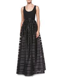 Aidan By Aidan Mattox Sleeveless Banded Skirt-overlay Gown - Lyst