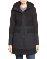 Guess Colorblock Hooded Wool Blend Coat - Black