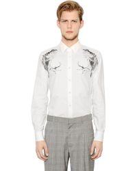 Alexander McQueen Bird Printed Cotton Poplin Shirt - White