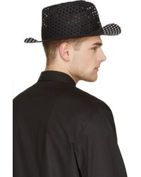 Ann Demeulemeester Black Perforated Hat - Lyst