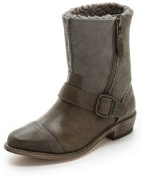 Koolaburra - Duarte Shearling Moto Boots - Grey/Wetsand - Lyst
