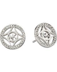 Michael Kors Monogram & Pave Stud Earring - Lyst
