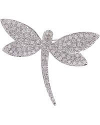 Kojis - White Gold Dragonfly Diamond Brooch - Lyst