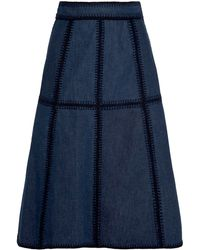 Miu Miu Whipstitched Denim Skirt - Lyst