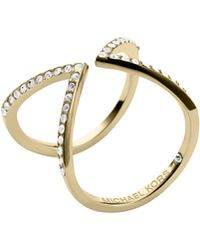 Michael Kors Open Arrow Pave Ring - Gray
