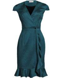 Matthew Williamson Animal Jacquard Ruffle Wrap Dress - Lyst