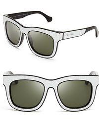 Balenciaga Cracked Leather Wayfarer Sunglasses - Lyst