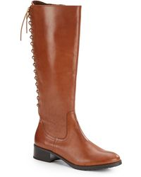 Donald J Pliner Baude Laced Leather Riding Boots - Lyst