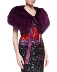 Elie Saab - Fox-Fur Stole with Leather Tie - Lyst