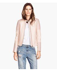 H&M Pink Biker Jacket - Lyst