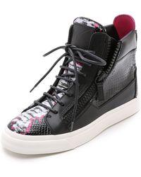 Giuseppe Zanotti Double Zip Snake Embossed Sneakers - Black/Fuchsia - Lyst