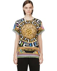 Versace Yellow Psychedelic Printed Silk T_shirt - Lyst