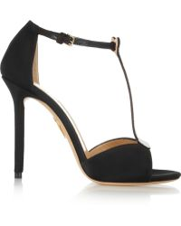 Charlotte Olympia Skeleton Appliquãd Silk-satin Sandals - Lyst