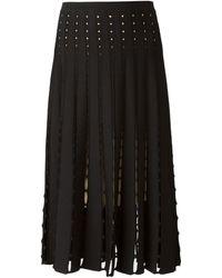 Alice + Olivia Perforated Pleated Skirt - Lyst