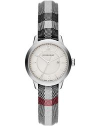 Burberry Ladies Stainless Steel Jacquard Strap Watch - Lyst