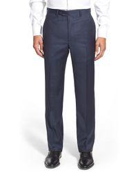Santorelli 'romeo' Flat Front Check Wool Pants - Blue
