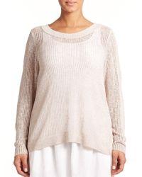 Eileen Fisher Linen & Cotton Open-Knit Top beige - Lyst