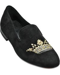 Kardinale Crown Embroidery Suede Slip On - Lyst