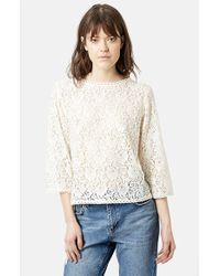 Topshop Boxy Lace Top - Lyst