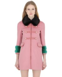 Gucci Wool & Angora Coat With Mink Fur Details - Pink