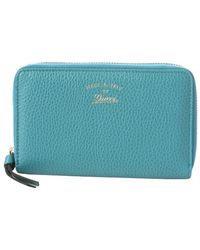 Gucci Turquoise Leather Swing Zip Around Wallet - Lyst