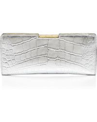 Milly Clutch - Isabella Croc-Embossed Frame Metallic - Lyst