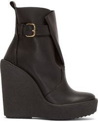 Pierre Hardy Black Leather Platform Wedge Boots - Lyst