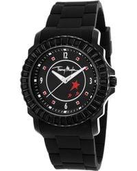 Thierry Mugler Women'S Black Rubber Black Crystal Encrusted Bezel Black Dial - Lyst