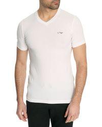 Armani Jeans V Neck White T-Shirt Aj Chest Logo - Lyst