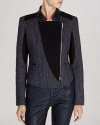 Karen Millen Jacket  Mixed Texture Biker Collection - Lyst