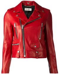Saint Laurent Red Biker Jacket - Lyst