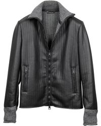 Forzieri Men'S Black And Gray Wool Leather Motorcycle Zip Jacket - Lyst